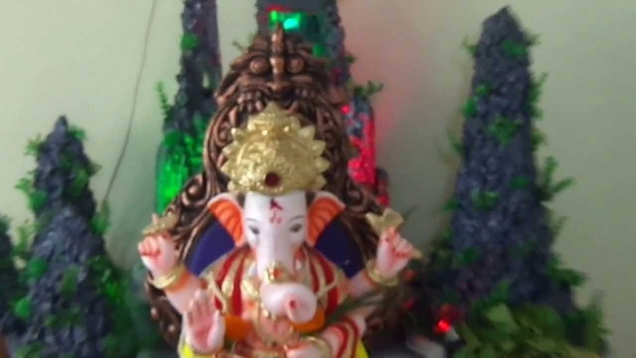 Home ganpati bappa decoration pune ganpati darshan for Decorations of ganpati for home